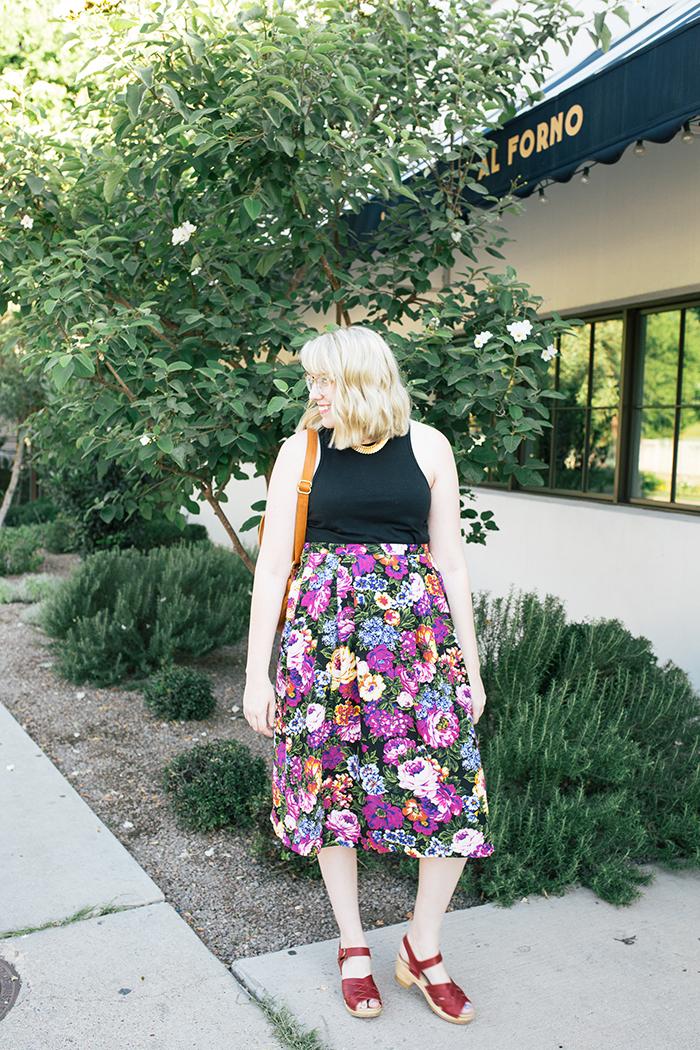 austin style blogger vintage floral midi skirt5