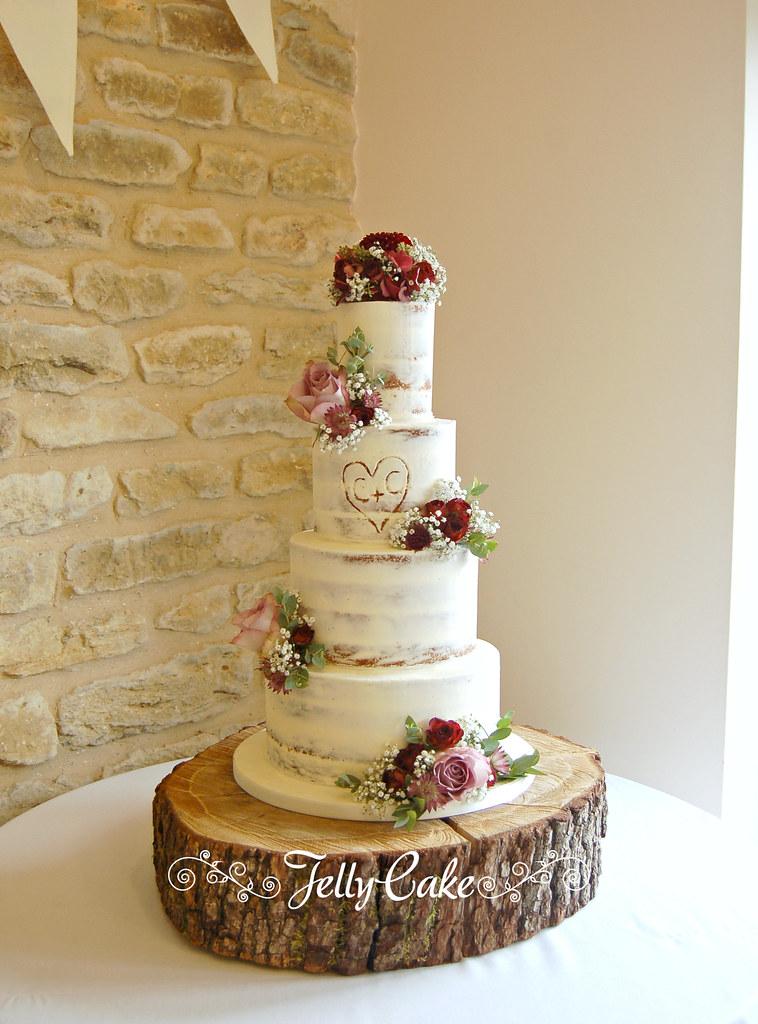 Autumn Flowers Semi Naked Wedding Cake Trudy Mitchell