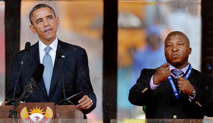 El falso intérprete del funeral de Nelson Mandela.   © AFP. Multiculturalidad.