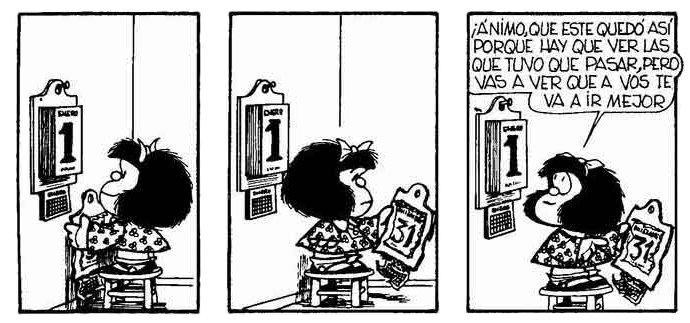 Mafalda y el Año Nuevo. © Quino.