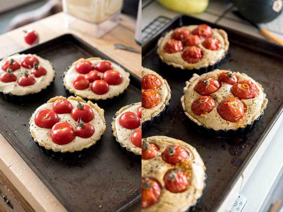 Creamy Tomato Basil Tartlets! Summer is coming to an end, so use up some of those tasty, garden-fresh tomatoes in these delicious, gluten-free, soy-free tartlets! #vegan #veganyackattack