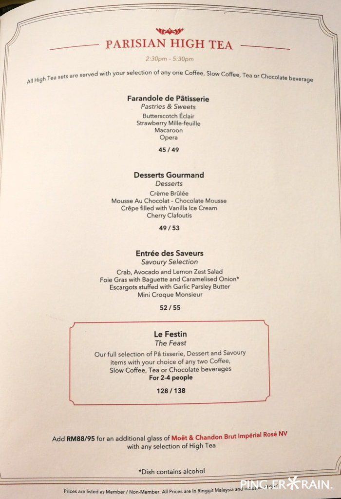 Parisian High Tea Menu