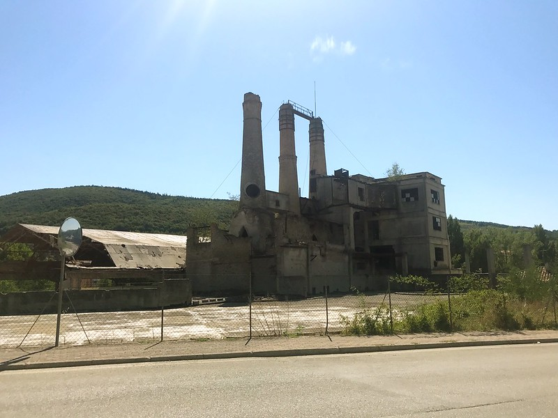 italy cycling trip - A ruined old factory in Sassoferrato.