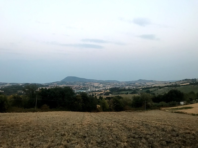 view of fields and mount conero outside of ancona