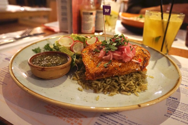 Yucatan grilled chicken with rice, salad and salsa verde from Wahaca | Gluten Free Mexican Food | London + UK
