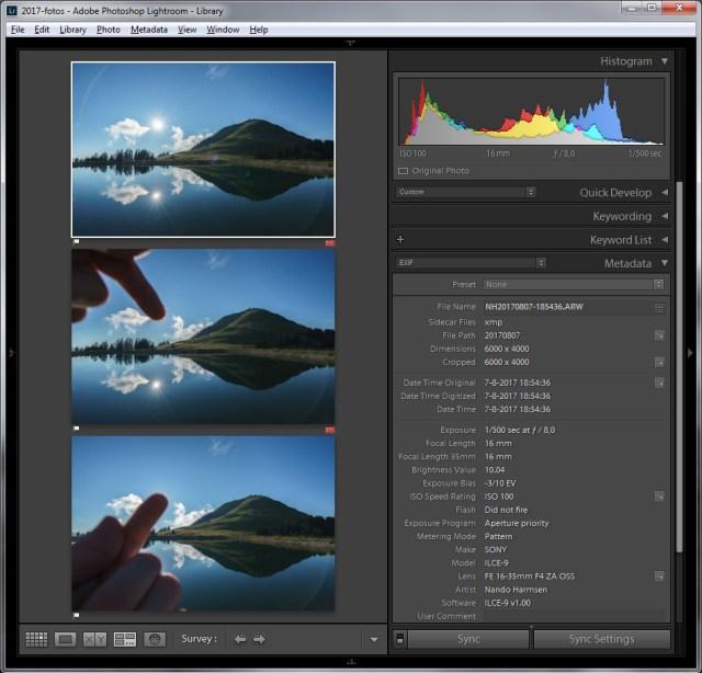 De drie foto's die gebruikt worden om de flares in de foto weg te werken. De eerste bewerkingen worden gemaakt in Lightroom, waarbij elke foto exact dezelfde bewerking krijgt. Dit maakt het samenvoegen makkelijker