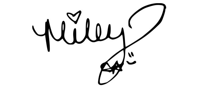 Firma de Miley Cyrus. Grafología