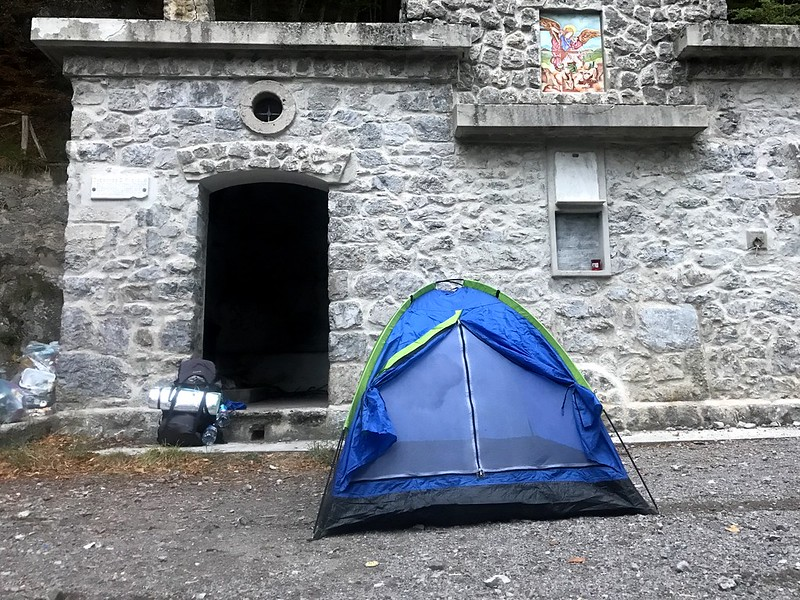 camping outside of a little church while trekking the picentini mountains near naples
