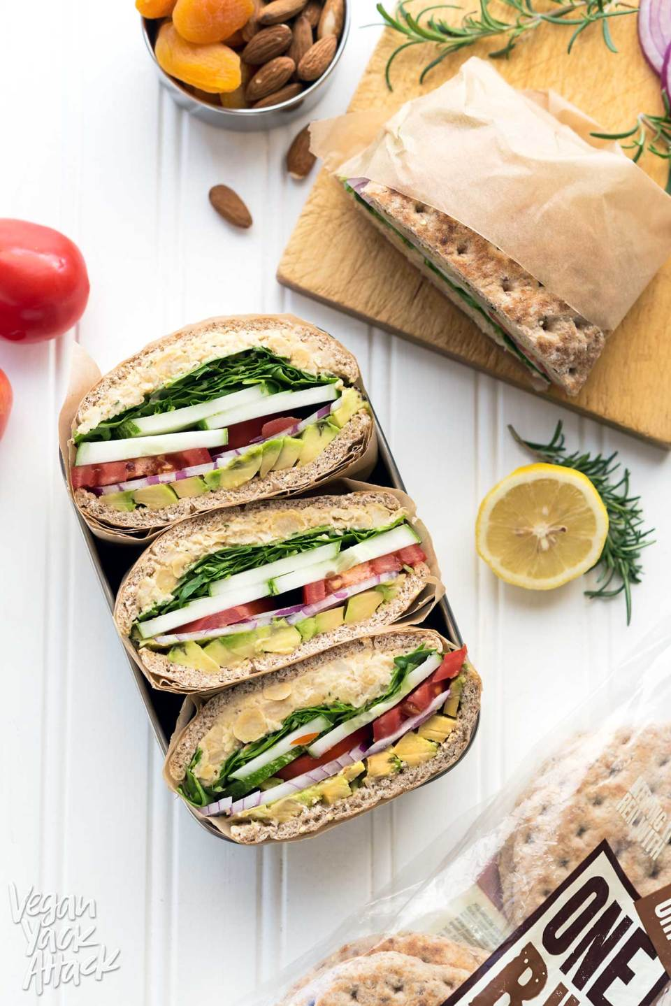 Rosemary Chickpea Salad Sandwich: Here's a back-to-school-ready lunch idea that's easy and delicious! #vegan #soyfree #nutfree