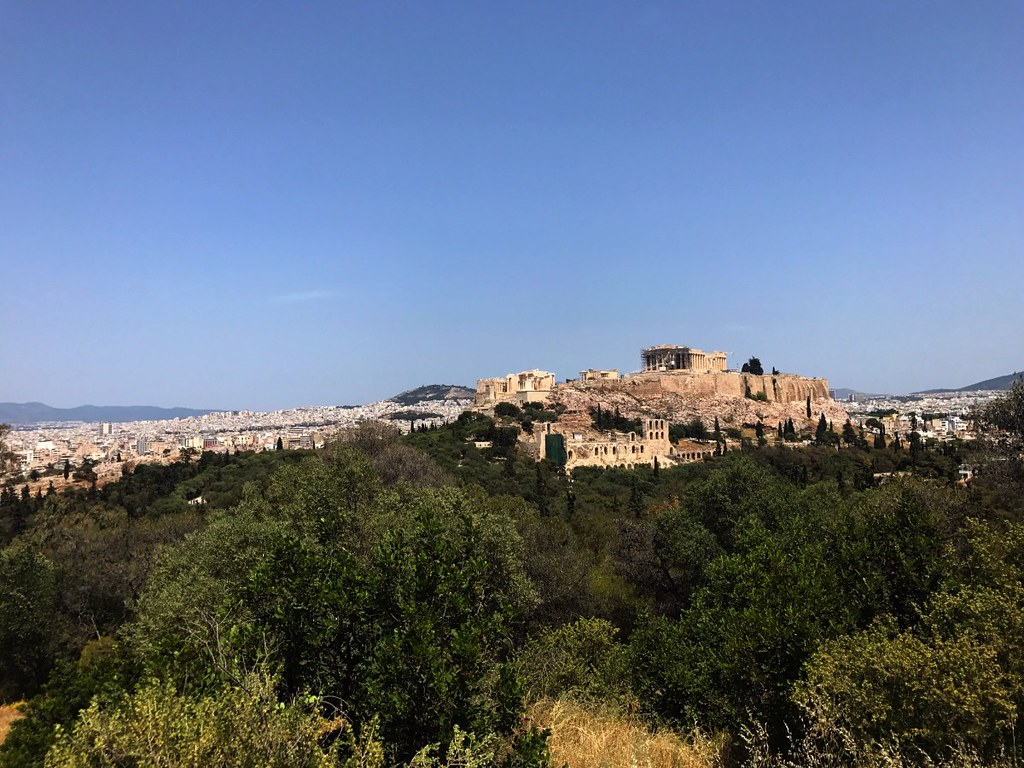 great view of acropolis under blue sky