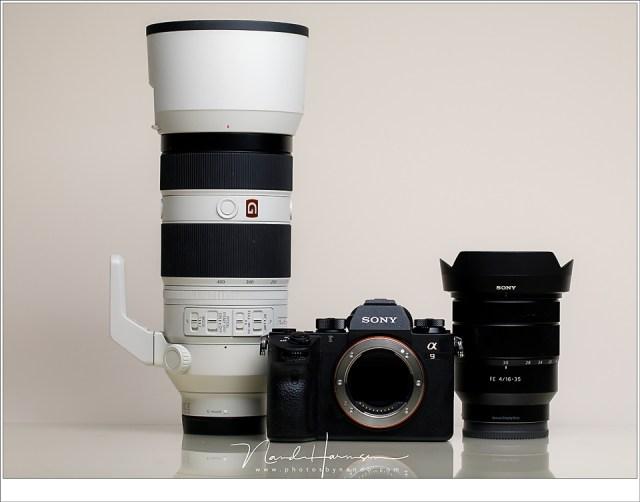 De Sony A9, samen met de FE16-35mm en de FE100-400mm. Beschikbaar gesteld door Cameraland.nl