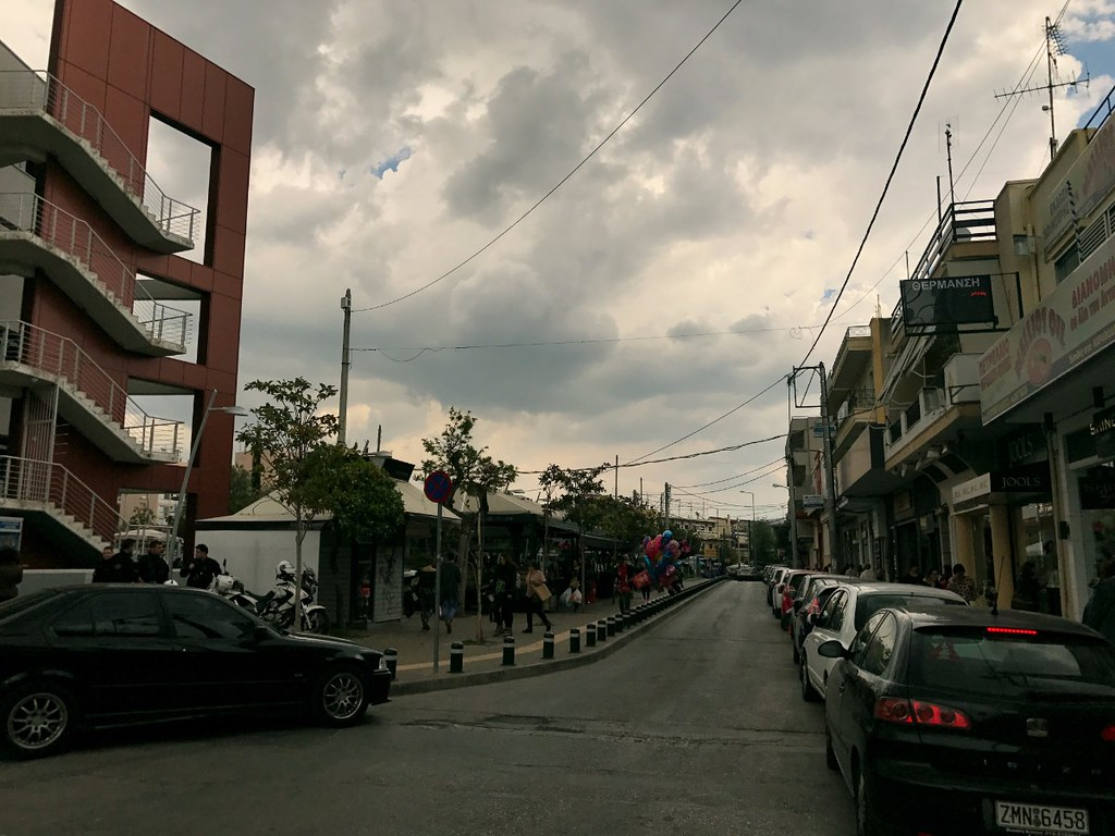 cloudy sky over peristeri square in athens