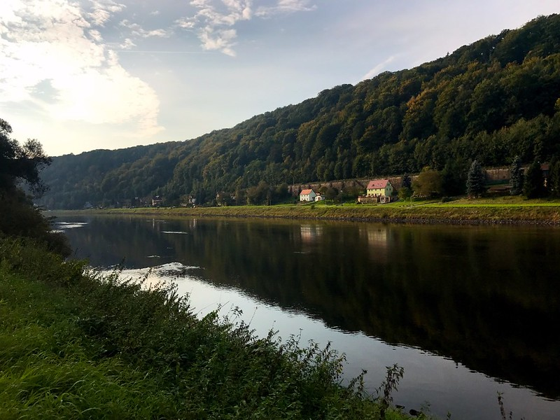 beautiful morning view of the elbe river in saxon switzerland