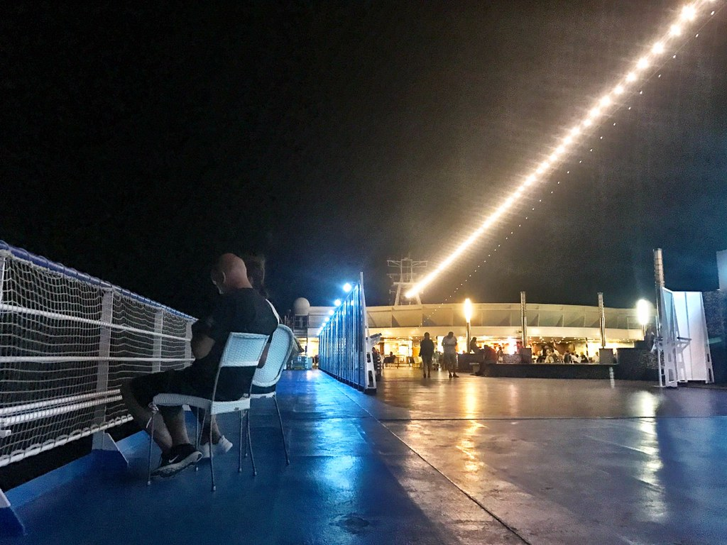 deck of boat from greece to italy at night