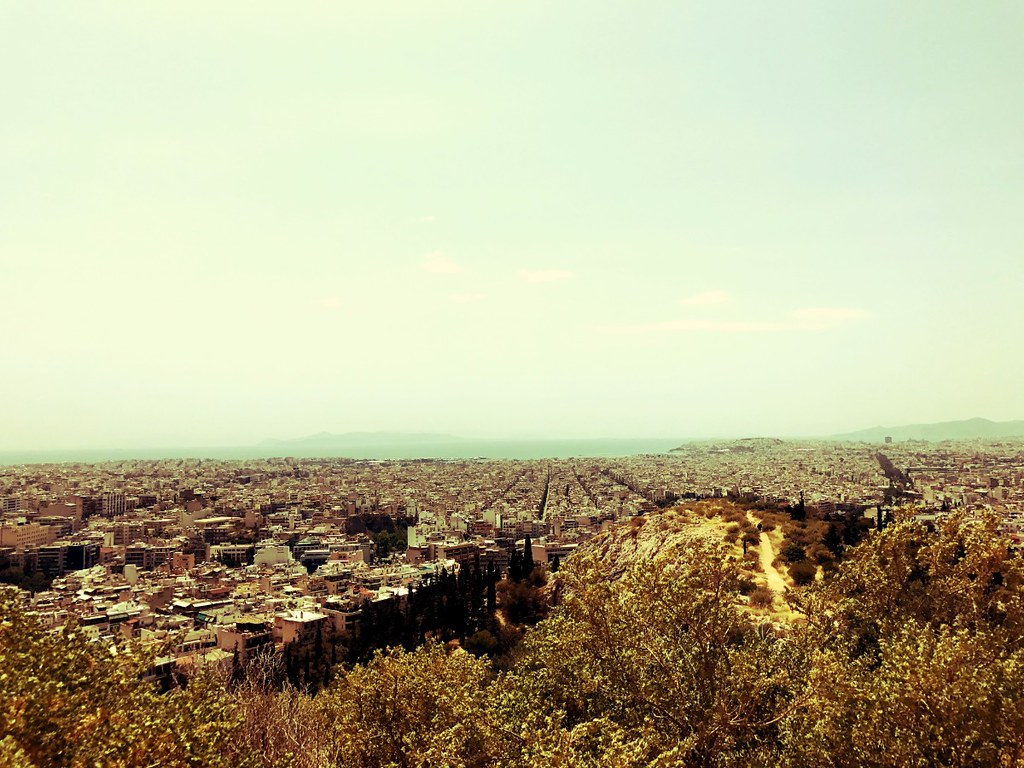 wide south view of athens from philopappos hill