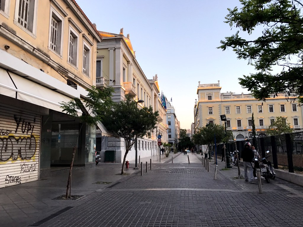 aiolou street in athens before central bank