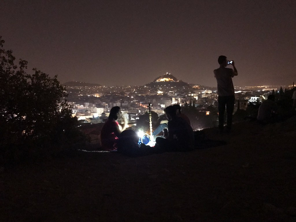 amazing night view of athens and lycabettus hill from acropolis