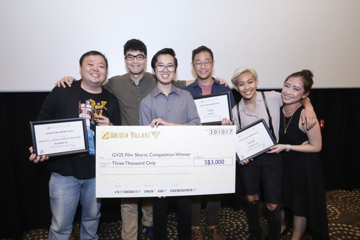 From left: Marcus Goh, filmmaker of Raffles v Sang Nila Utama: Dawn of Singapore; Alvin Lim, Wesley Lim and Joshuah Lim En of Moonmen, filmmakers of Chiak; Jean Goh and Jedidiah Neo of The Apex Project, filmmakers of Sugar. (Credit: Golden Village)