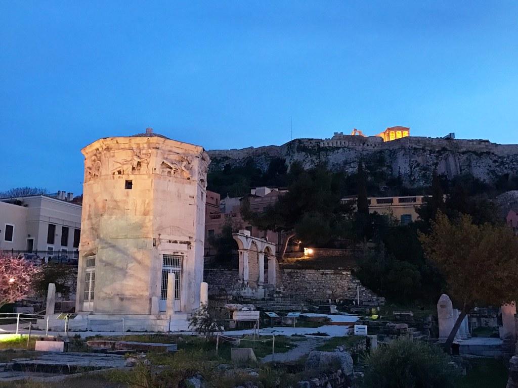 roman market and acropolis of athens