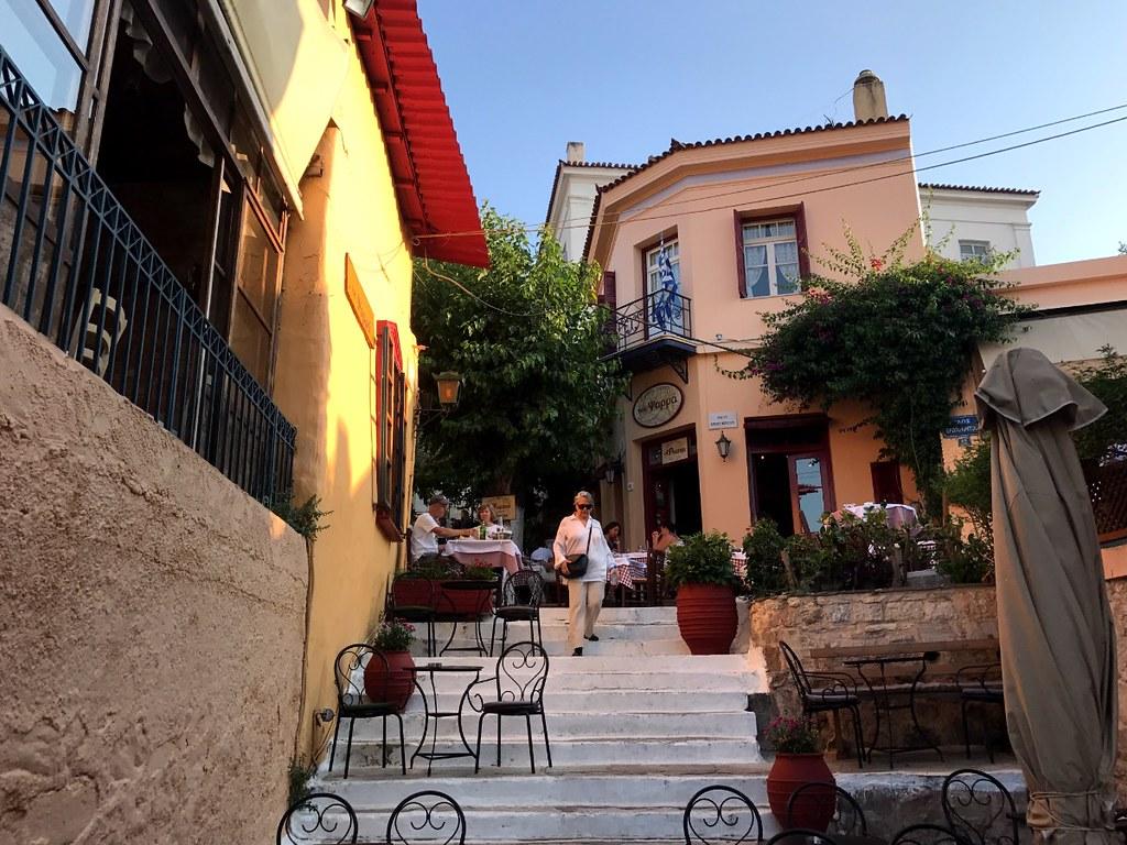beautiful old neighborhood plaka in athens