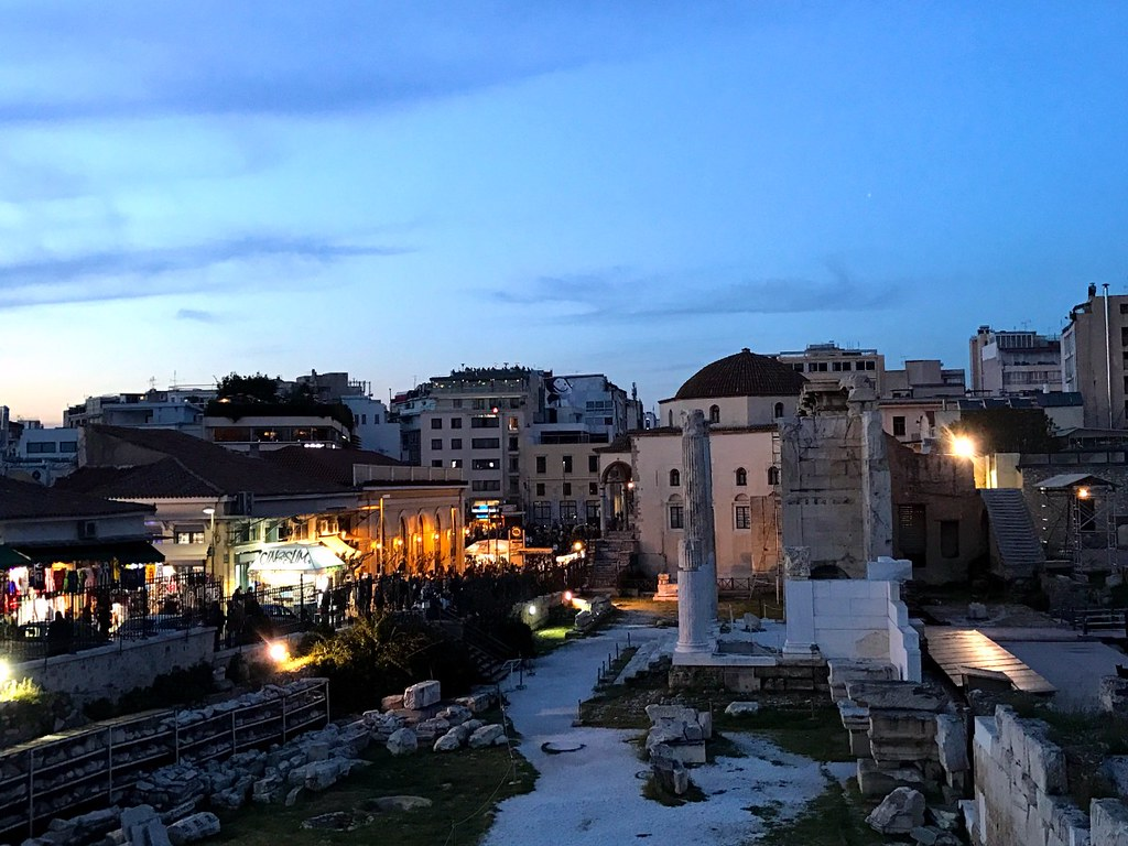 hadrian's library in monastiraki square in athens