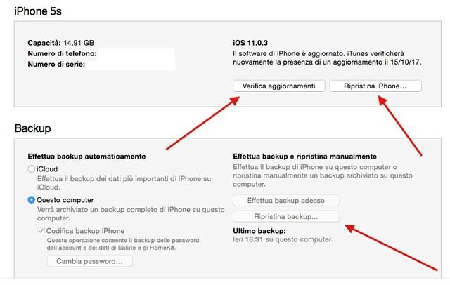 Comandi principali per aggiornare l'iPhone