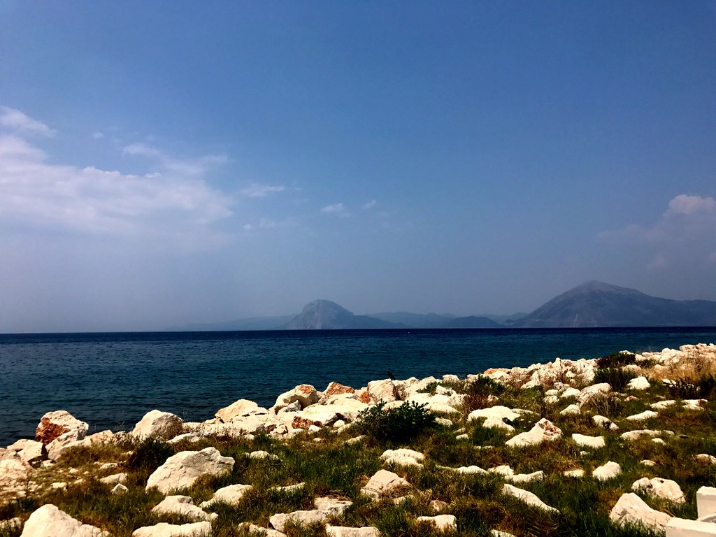 view of greek mountains from across the gulf of achaea in patras