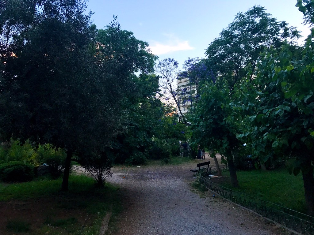 park in patision street in athens