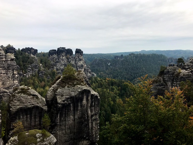 spectacular view of dramatic rock formations from bastei bridge in saxon switzerland
