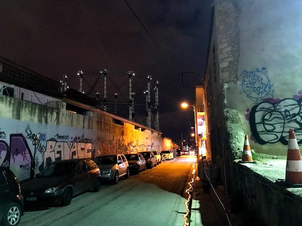 kerameikos area in athens by night