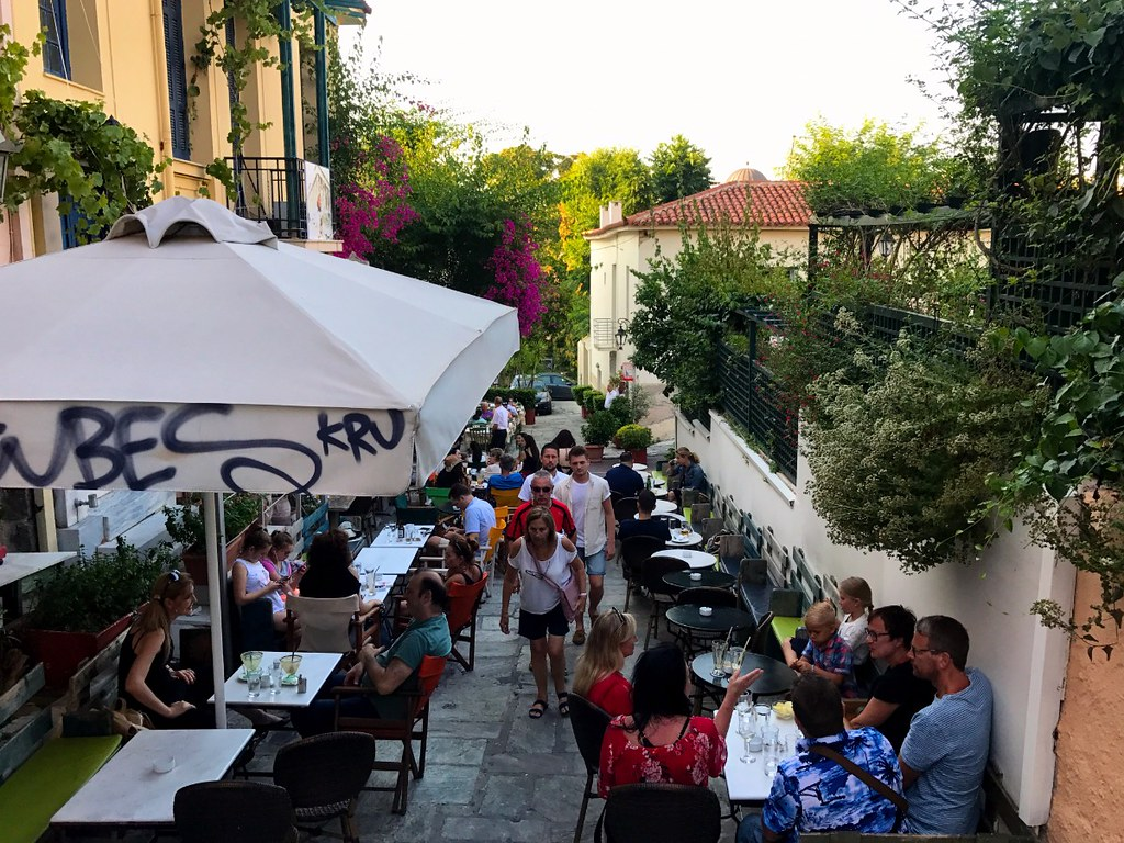 picturesque cafe in stairs street in athens plaka neighborhood