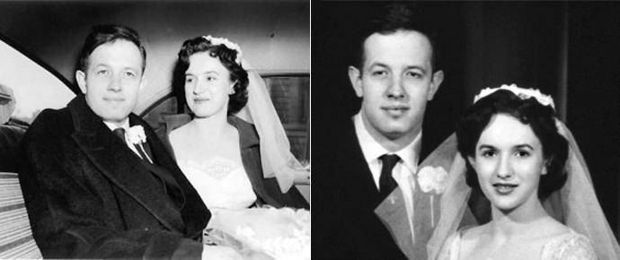 Fotografía de John Forbes Nash y Alicia López el día de su boda en 1957.