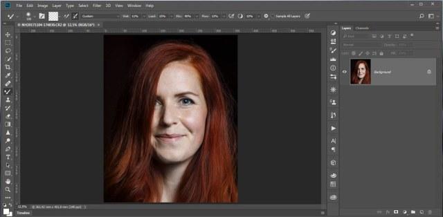 De ruwe foto in Photoshop. De foto heeft wel de basis bewerkingen in Lightroom gehad, maar geen verscherping of ruisreductie.