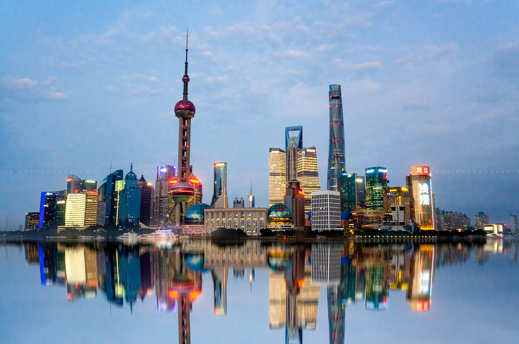 The Lujiazui Skyline The Famous Pudong Shanghai Skyline