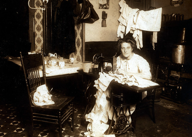 Annie Meyer, making Campbell-kids' pinafores in her basement home