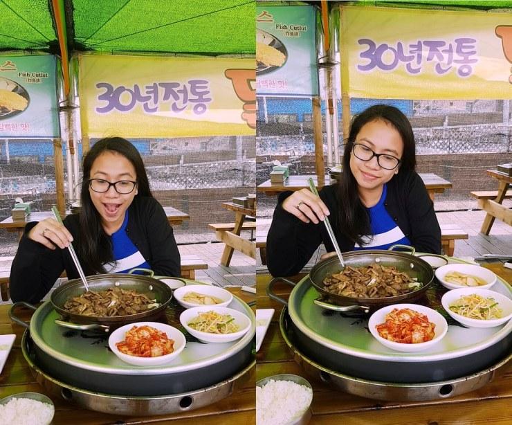 eating bulgogi in gapyeong