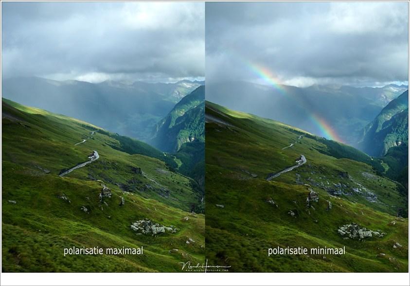 Het gebruik van een polarisatiefilter kan de regenboog onzichtbaar maken. Ga je een regenboog fotograferen, gebruik dan geen polarisatie. Deze foto's zijn 5 seconden na elkaar gemaakt. (Sony A9 + FE16-35 @ 35mm | ISO400 | f/11 | 1/160 | Haida polarisatiefilter)