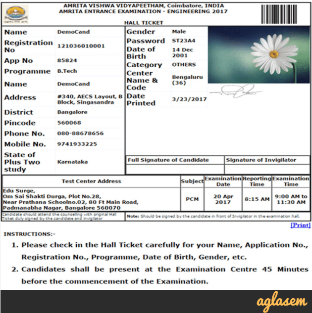 AEEE 2021 Admit Card