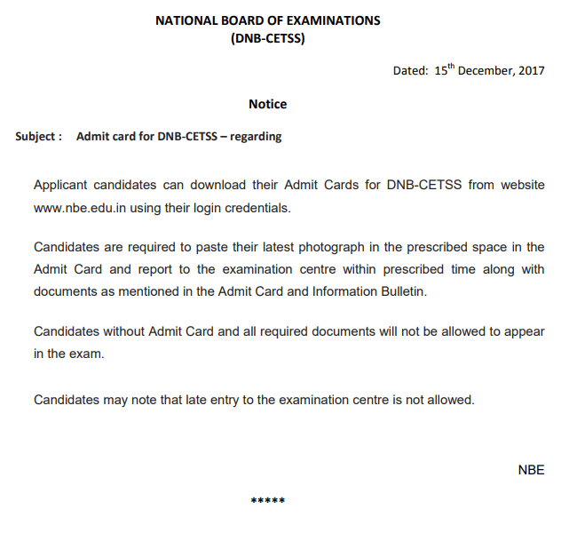DNB CET SS 2018 Admit Card / Hall Ticket Available   Download Here