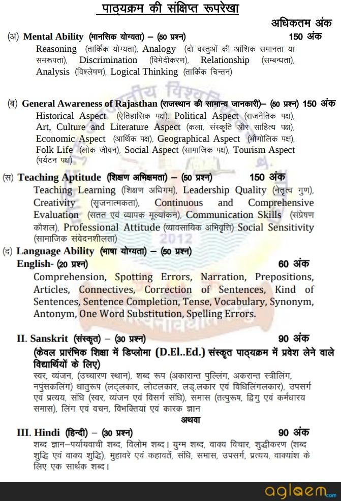 Rajasthan BSTC 2019