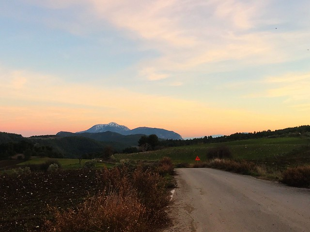 Twilight view of Mount Kandyli on the way to the west coast of Evia