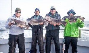 Photo of group holding up fish they caught