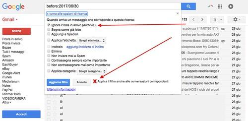 Archiviazione o eliminazione posta Gmail
