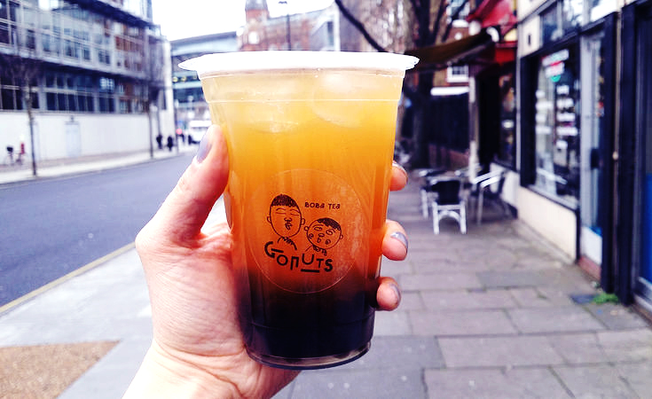 Lychee green tea boba tea from Gonuts and Oa Com Tam in Holloway | Gluten free | London | Islington