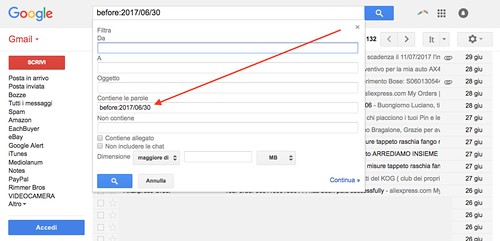 Impostazioni archiviazione Gmail