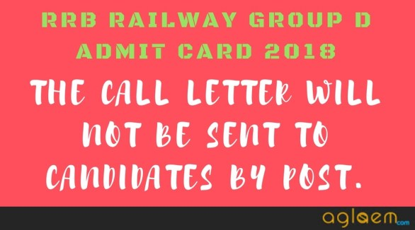 Railway Group D Admit Card 2018 [Released] - Download RRB Admit Card