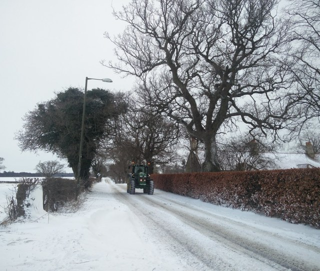 Gifford Road In Snow With Tractor By Allytibbitt