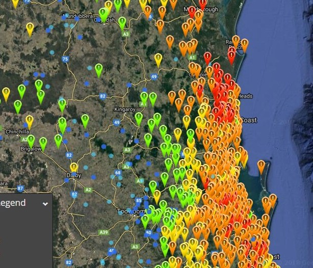 HD Decor Images » SE QLD  NE NSW Upper Low showers rain possible storms 20 Feb 26 Feb     2nd image   Weatherzone satellite radar lightning showing that suppressed  area