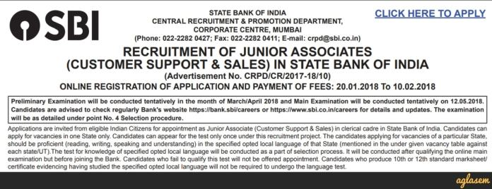 Sbi Clerk 2018 Notification Released Apply Online From 20th Jan