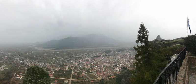 Panoramic view of Kalampaka town and the Peneios River valley from St Stephen's Monastery in meteora
